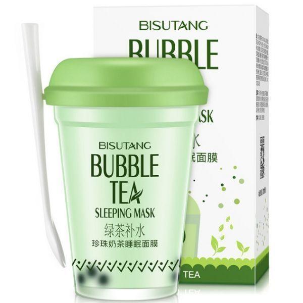 Увлажняющая ночная маска для лица Bisutang с экстрактом зеленого чая и гиалуроновой кислотой 100 мл