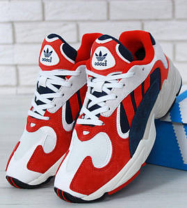 Мужские кроссовки Adidas Yung 1 White Red Suede