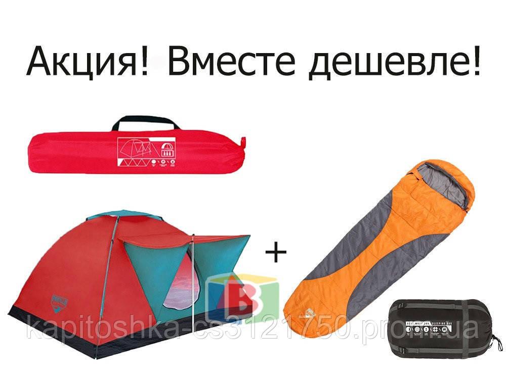 Палатка 3-х местная со спальником. Размер палатки: 210х210х120 см.