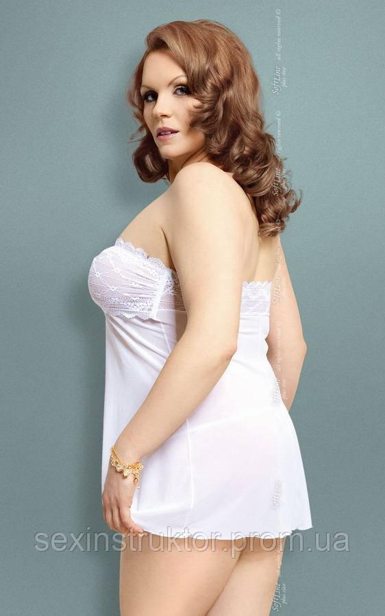 Пеньюар - Tanya, Plus Size, белый