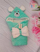 Детский конверт с капюшоном и ушками. Мишка. Пять цветов. Размер конверта: 80Х80 см.