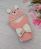 Детский конверт с капюшоном и ушками. Мишка. Пять цветов. Размер конверта: 80Х80 см., фото 3