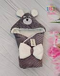 Детский конверт с капюшоном и ушками. Мишка. Пять цветов. Размер конверта: 80Х80 см., фото 4