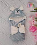 Детский конверт с капюшоном и ушками. Мишка. Пять цветов. Размер конверта: 80Х80 см., фото 5