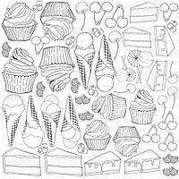 Лист для раскрашивания Candy Shop, акварель, 30х30см