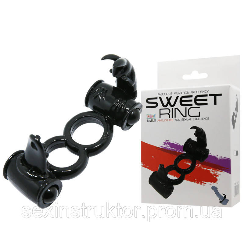 Эрекционное кольцо - Sweet Ring Double Penis Ring Black