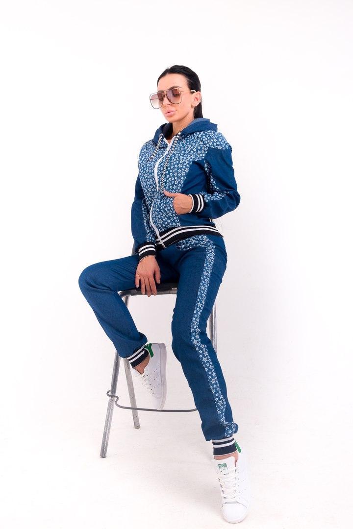 Стильный молодёжный спортивный костюм из джинса С М Л