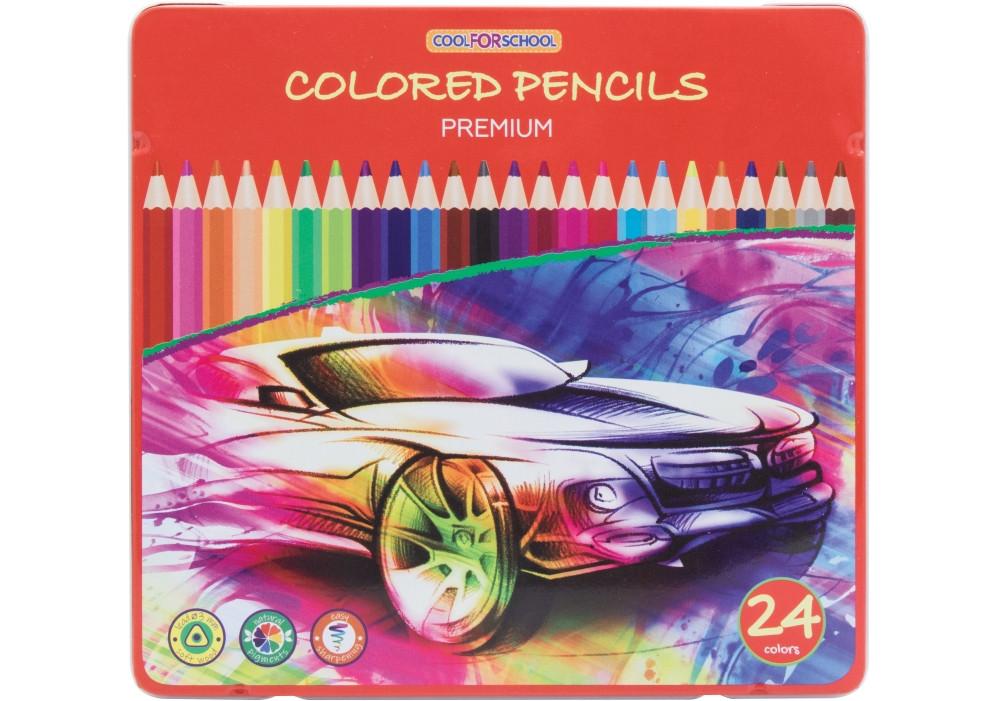 """Карандаши цветные """"Premium"""", 24 цвета, трехгранные, в металлической коробке"""