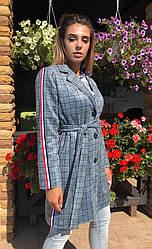 Женское замшевое пальто Клетка Ломпасы 5034