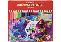 """Карандаши цветные """"Premium"""", 24 цвета в металлической коробке"""