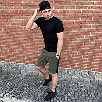 Мужские шорты хаки с черными лампасами хлопковые / Спортивные костюмы на лето