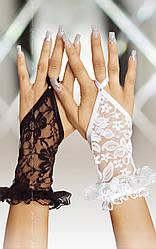 Короткие кружевные перчатки Gloves 7707 белые