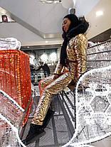 Тёплый лыжный молодёжный костюм с металлизированной плащёвки С М Л, фото 3