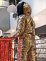 Тёплый лыжный молодёжный костюм с металлизированной плащёвки С М Л, фото 2