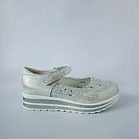 Школьные трендовые туфли на платформе девочкам, р. 31,32,34,35,36,37. Белые