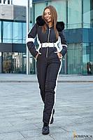 Стильный лыжный женский комбинезон чёрного цвета с опушкой из натурального песца
