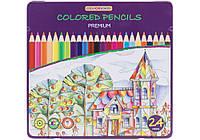 Карандаши 24 цвета в металлической коробке