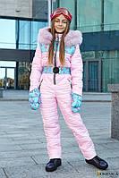 Модный зимний комбинезон для девочки подростка с мехом натурального песца  36, 38, 40 с