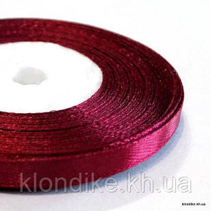 Лента атласная, 0.6 см, Цвет: Бордовый (32 метров/уп.)