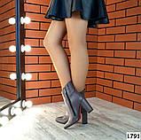 Стильные кожаные ботильоны на каблуке капучинового цвета, фото 3