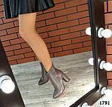 Стильные кожаные ботильоны на каблуке капучинового цвета, фото 5
