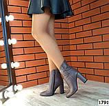 Стильные кожаные ботильоны на каблуке капучинового цвета, фото 4