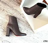Стильные кожаные ботильоны на каблуке капучинового цвета, фото 6