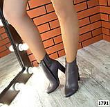 Стильные кожаные ботильоны на каблуке капучинового цвета, фото 7