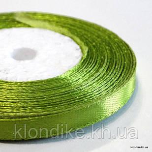 Лента атласная, 0.6 см, Цвет: Зеленый 1 (32 метров/уп.)