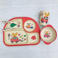 Детская бамбуковая посуда Машинка набор из 5 предметов