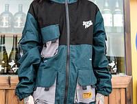 Куртка - ветровка зеленая с черным мужская женская унисекс модная крутая от Skatepark Скейтпарк