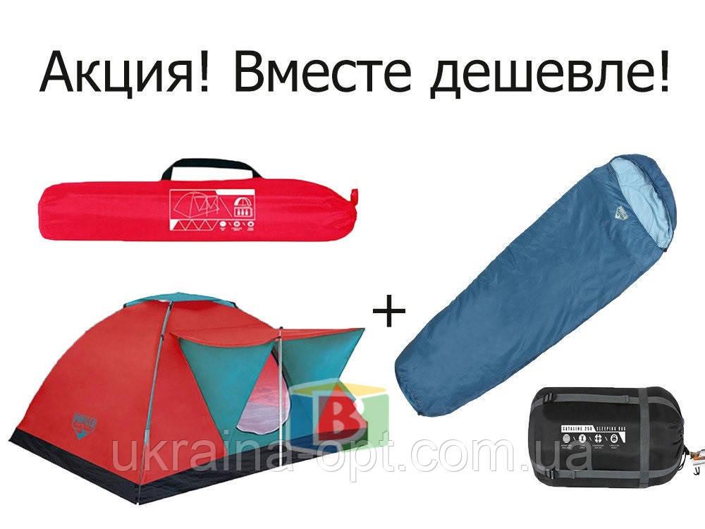 Палатка 3-х местная со спальником. Размер палатки: 210х210х120 см. Размер спальника: 230х80х60 см.Bestway