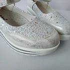 Школьные трендовые туфли на платформе девочкам, р. 30,31,32,34,35,36,37. Белые, фото 9