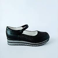 Школьные трендовые туфли на платформе девочкам, р. 30 (19,5 см). Черные