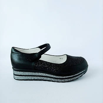 Школьные трендовые туфли на платформе девочкам, р. 30,31,37. Черные