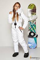 Модный лыжный  комбинезон для девочки - подростка белого цвета с мехом натурального песца  36, 38, 40