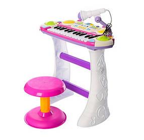 Пианино электронное 7235 Музыкант, на подставке, стул, микрофон. 2 цвета