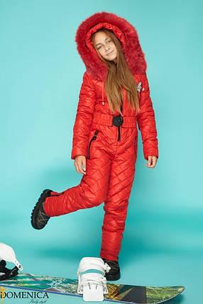 Тёплый лыжный  комбинезон для девочки - подростка красного цвета с мехом натурального песца  36, 38, 40, фото 2
