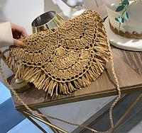 Женская бежевая плетеная сумка Кашпо