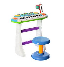 Електронне піаніно 7235 Музикант, на підставці, стілець, мікрофон. 2 кольори Біло-блакитний