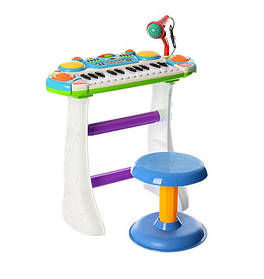 Пианино электронное 7235 Музыкант, на подставке, стул, микрофон. 2 цвета Бело-голубой