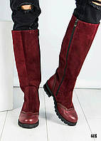Сапоги женские комбинированные красивые 2024/2 замш/кожа/байка, фото 1