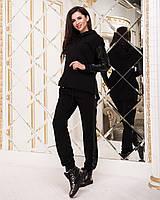Женский спортивный костюм штаны с лампасами кофта батник с кожаными вставками чёрный 42-44 46-48 50-52, фото 1