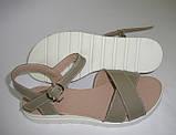 Женские босоножки серо-бежевые, 38 размер, фото 2