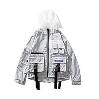 Куртка-ветровка серая капюшон прозрачный мужская модная крутая спортивная осенняя Crown Grade