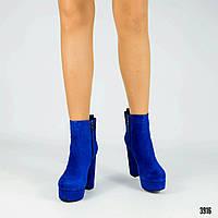 Ботинки женские на каблуке разные цвета 1798/2 замш/байка, фото 1