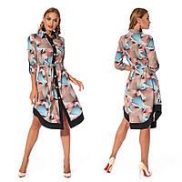 Платье-рубашка с поясом (р.44,46,48,50 ) софт беж