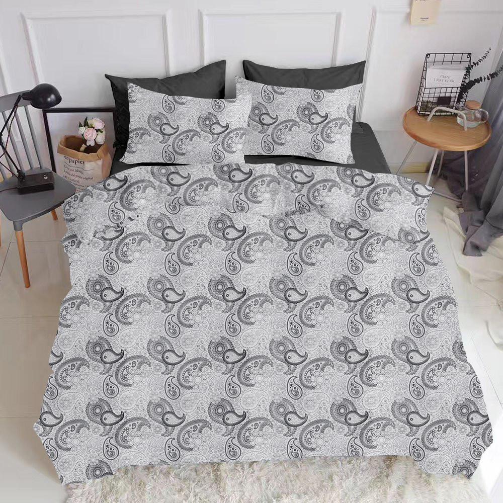 Комплект полуторного постельного белья сатин TURKISH CUCUMBER BLACK