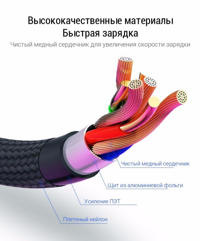 Магнитный кабель USB Type-C PZOZ для зарядки и передачи данных (Черный, 1м, 3A)