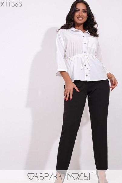 Модная молодёжная белая блуза с кулиской на талии  батал  48-56 размер